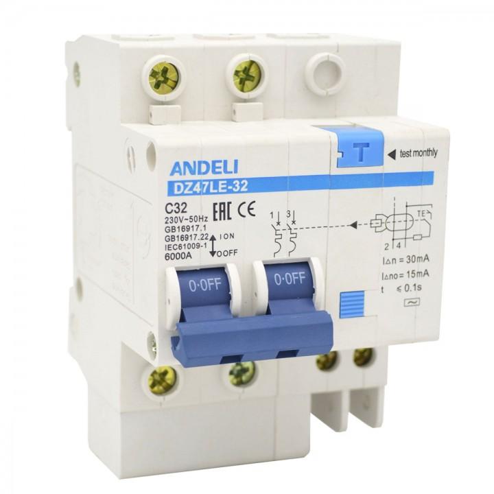 Дифференциальный автомат DZ47LE-32 2P 16A 30mA тип AC х-ка С