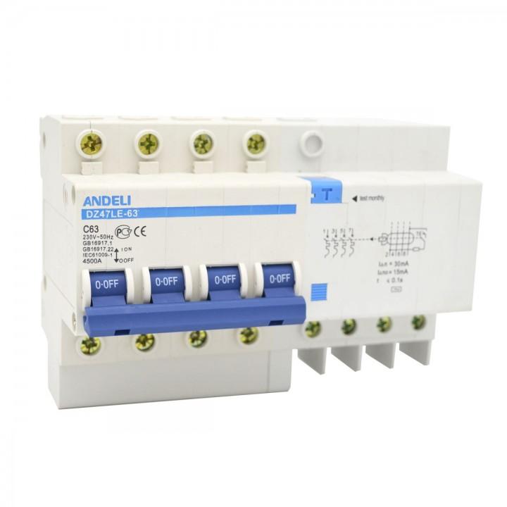 Дифференциальный автомат DZ47LE-63 4P 10A 30mA тип AC х-ка С