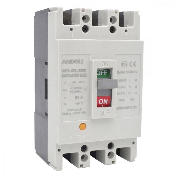 Автоматический выключатель AM1-63L/3P 10A 25KA
